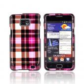 AT&T Samsung Galaxy S2 Hard Case - Plaid Pattern of Pink/ Hot Pink/ Brown/ Gray