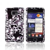 AT&T Samsung Galaxy S2 Hard Case - Silver Skulls on Black