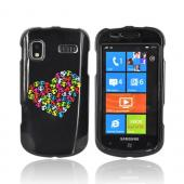 Samsung Focus i917 Hard Case - Rainbow Skull Heart on Black
