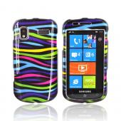 Samsung Focus i917 Hard Case - Rainbow Zebra on Black