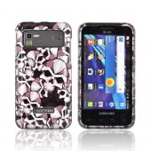 Samsung Captivate Glide i927 Hard Case - Silver Skulls on Black