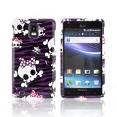 Samsung Infuse i997 Hard Case - White Skulls on Purple Zebra