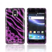 Samsung Infuse i997 Hard Case - Purple/ Black Zebra & Stars
