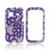 Samsung Trender M380 Hard Case - Purple Lace Flowers on Silver
