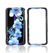 Samsung Prevail M820 Hard Case - Blue Flowers on Black