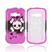 Samsung Galaxy Reverb Hard Case - White Skull w/ Bow on Hot Pink