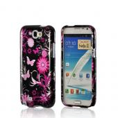 Pink Flowers and Butterflies on Black Hard Case for Samsung Galaxy Note 2