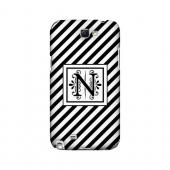 Vintage Vine N On Black Slanted Stripes - Geeks Designer Line Monogram Series Hard Case for Samsung Galaxy Note 2