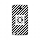Vintage Vine O On Black Slanted Stripes - Geeks Designer Line Monogram Series Hard Case for Samsung Galaxy Note 2