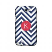 Cherry Button K on Navy Blue Zig Zags - Geeks Designer Line Monogram Series Hard Case for Samsung Galaxy Note 2