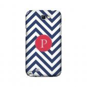 Cherry Button P on Navy Blue Zig Zags - Geeks Designer Line Monogram Series Hard Case for Samsung Galaxy Note 2