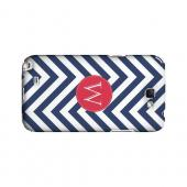 Cherry Button W on Navy Blue Zig Zags - Geeks Designer Line Monogram Series Hard Case for Samsung Galaxy Note 2