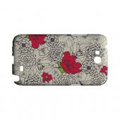 Flower Outline Red Accent - Geeks Designer Line Floral Series Hard Case for Samsung Galaxy Note 2