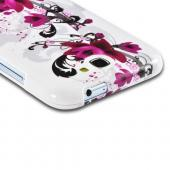 Magenta Flowers & Black Vines on White Hard Case for Samsung Galaxy Note 2