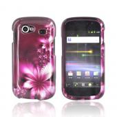 Google Nexus S Hard Case - Pink Flowers on Maroon