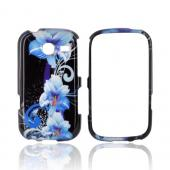Samsung Freeform 3 Hard Case - Blue Flowers on Black