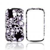 Samsung Freeform 3 Hard Case - Silver Skulls on Black