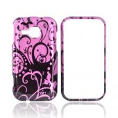 Samsung Galaxy Indulge R910 Hard Case - Black Swirl Design on Purple