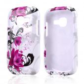 Magenta Flowers w/ Black Vines on White Hard Case for Samsung Galaxy Centura