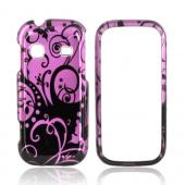 Samsung Gravity TXT T379 Hard Case - Black Swirl Design on Purple