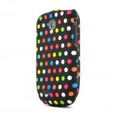 Samsung Dart T499 Rubberized Hard Case - Rainbow Polka Dots on Black