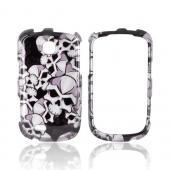 Samsung Dart T499 Hard Case - Silver Skulls on Black