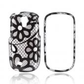 Samsung Gravity Smart Hard Case - Black Lace Flowers on Silver