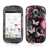 Hot Pink Butterflies & Flowers on Black Hard Case for Samsung Galaxy Exhibit