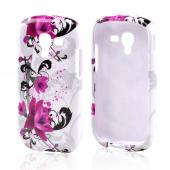 Magenta Flowers w/ Black Vines on White Hard Case for Samsung Galaxy Exhibit