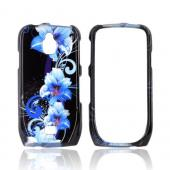 Samsung Exhibit T759 Hard Case - Blue Flowers on Black