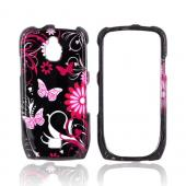 Samsung Exhibit T759 Hard Case - Pink Flowers & Butterflies on Black