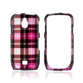 Samsung Exhibit 4G Hard Case - Plaid Design of Pink/ Hot Pink/ Brown/ Silver