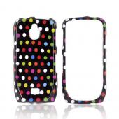 Samsung Exhibit T759 Hard Case - Rainbow Polka Dots on Black