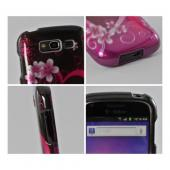 Hot Pink/ Purple Flowers & Heart Hard Case for Samsung Galaxy S Blaze 4G