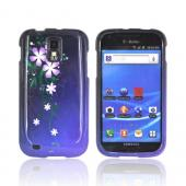 T-Mobile Samsung Galaxy S2 Hard Case - Purple Night Flowers on Blue/ Black