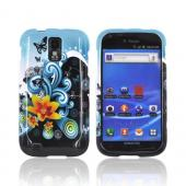 T-Mobile Samsung Galaxy S2 Hard Case - Yellow Lily & Swirls on Turquoise/ Black
