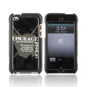 Apple iPod Touch 4 Passion Series Hard Case - Gray Courage Joshua 1:9 on Black