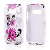Magenta Flowers w/ Black Vines on White Hard Case for ZTE Imperial