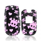 ZTE Captr II A210 Hard Case - Pink Skulls on Black