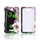 ZTE Score X500 Hard Case - Pink/ Purple Flower on Black