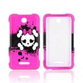 ZTE Score X500 Hard Case - White Skull w/ Bow on Hot Pink