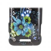 ZTE Score X500 Hard Case - Turquoise/ Green Flowers on Black