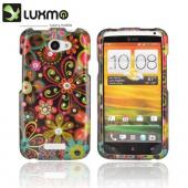 HTC One X Hard Case w/ Bling - Pink/ Orange Retro Flowers on Black