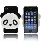 AT&T/ Verizon Apple iPhone 4, iPhone 4S Hard Case w/ Bling & Rotating Mirror - Black/ White Panda