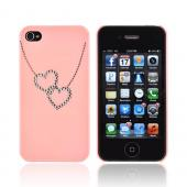 Premium AT&T/ Verizon Apple iPhone 4, iPhone 4S Hard Case w/ Bling - Pink/ Silver Double Heart Necklace