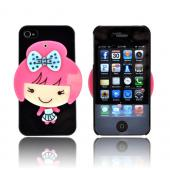 AT&T/ Verizon Apple iPhone 4, iPhone 4S Hard Case w/ Bling & Rotating Mirror - Pink/ Sky Blue Girl