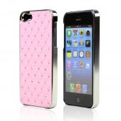 Apple iPhone 5/5S Hard Case w/ Bling & Faux Chrome - Silver Gems on Pink