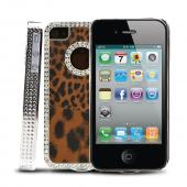 AT&T/ Verizon Apple iPhone 4 Faux Fur Hard Case w/ Bling - Brown/ Black Leopard
