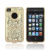 AT&T/ Verizon Apple iPhone 4, iPhone 4S Hard Case w/ Bling - Gold Droplets on White