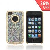 AT&T/ Verizon Apple iPhone 4, iPhone 4S Hard Case w/ Bling - Rainbow Droplets on Black